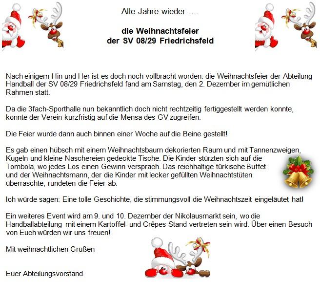 Alle Jahre wieder .... die Weihnachtsfeier der SV 08/29 Friedrichsfeld
